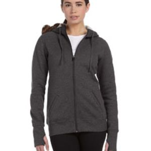 Ladies' Performance Fleece Full-Zip Hoodie with Runner's Thumb Thumbnail