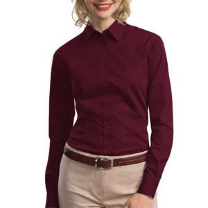 Ladies Tonal Pattern Easy Care Shirt Thumbnail