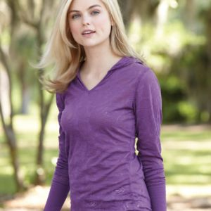 Women's Jersey Burnout Hooded Pullover T-Shirt Thumbnail