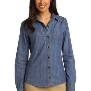 Ladies Patch Pockets Denim Shirt Thumbnail