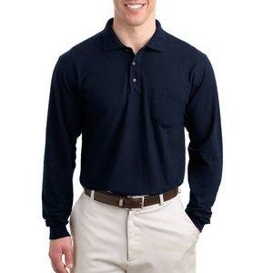 Tall Silk Touch™ Long Sleeve Polo with Pocket Thumbnail