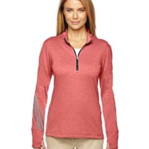 Ladies' Heather 3-Stripes Quarter-Zip Layering Thumbnail